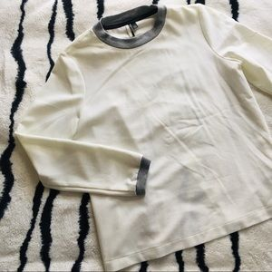 TopShop Open Back Sweater Top with Grey Cuffs